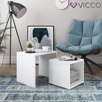 Vicco Couchtisch Beistelltisch Set Weiss Wohnzimmer Sofatisch