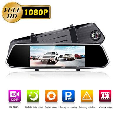 10'' HD 1080P Dual Lens Car DVR Rearview Mirror Dash Cam Recorder + Rear Camera 5