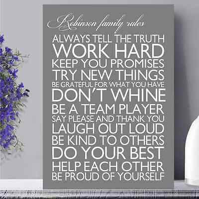 PERSONALISED FAMILY RULES CANVAS PRINTS W50CM x H70CM x D4CM 48 COLORS TO CHOOSE 3