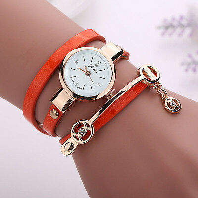 2016 Fashion Womens Ladies Watch Stainless Steel Leather Bracelet Wrist Watches 8