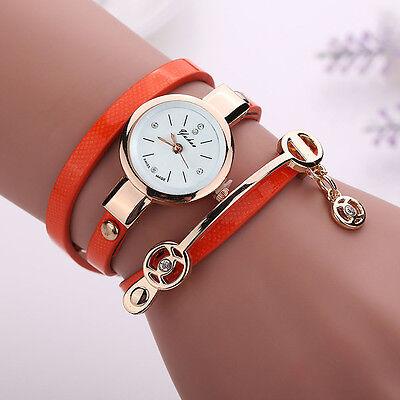 2016 Mode Femmes Montre Femmes acier inoxydable bracelet en cuir poignet montres 8