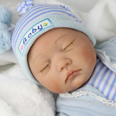 """Realistic Reborn Baby Dolls 22"""" Lifelike Vinyl Silicone Newborn Boy Doll+Clothes 7"""