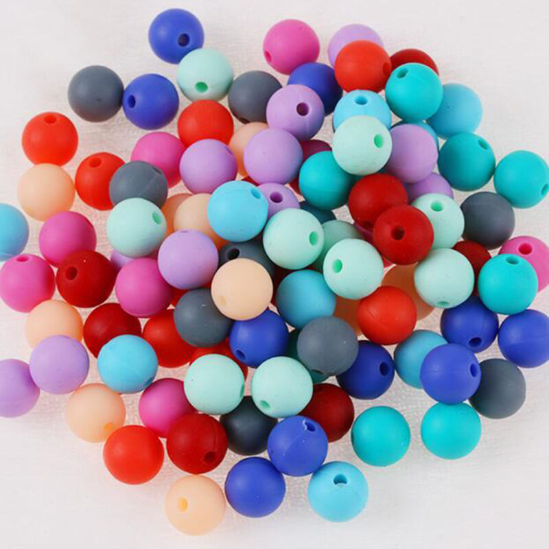 20X Silicone Teething Beads Round For Necklace Chews Pacifier Chain Clips Beads 2
