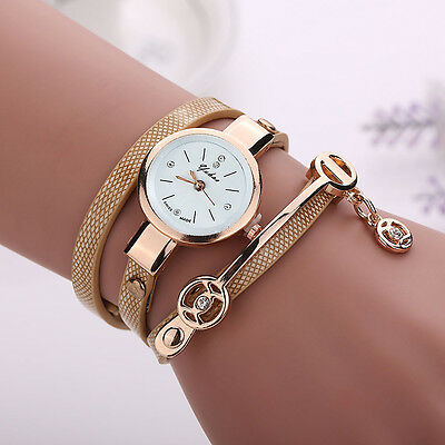 2016 Fashion Womens Ladies Watch Stainless Steel Leather Bracelet Wrist Watches 7