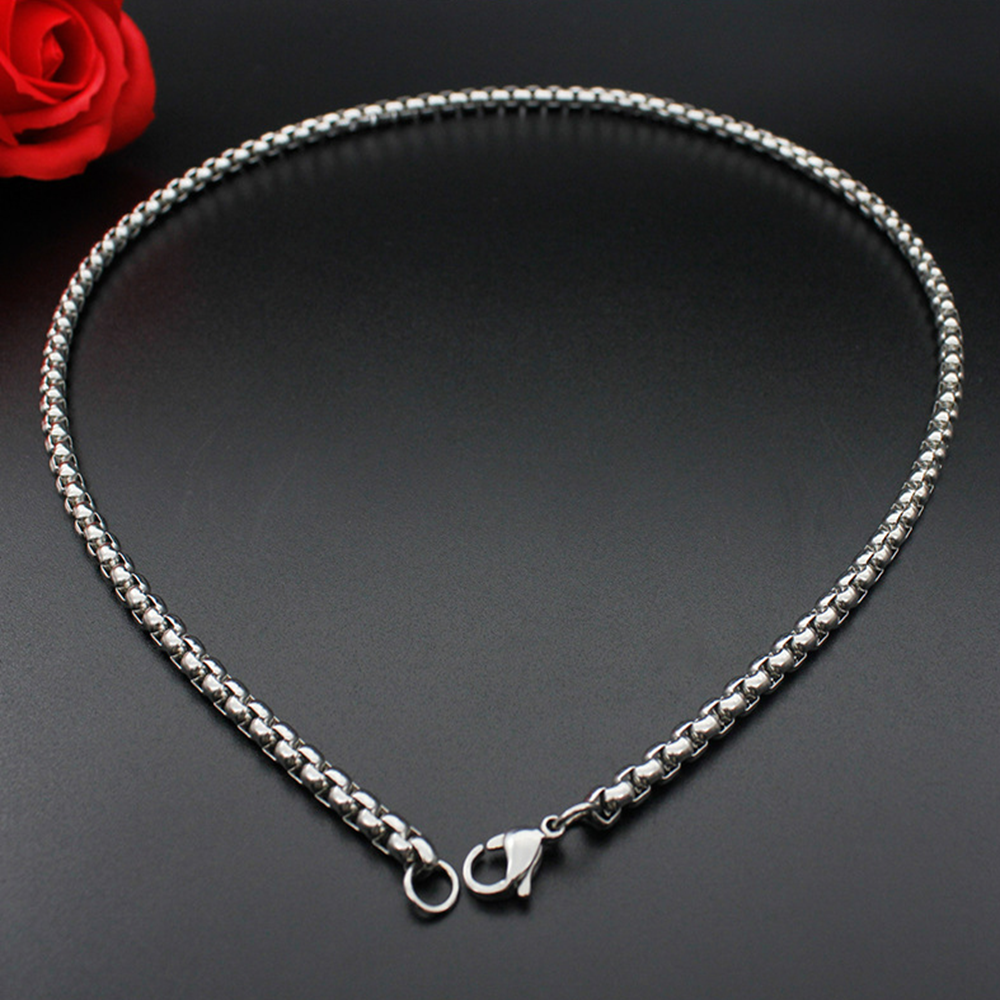 Man Women 316L Stainless Steel 2mm/3mm/4mm/5mm Silver Round Box Chain Necklace 6