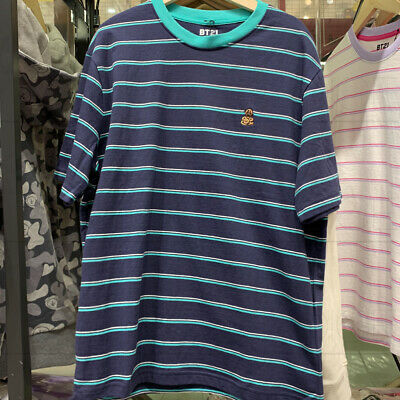 BTS BT21 Official Authentic Goods Striped Short Sleeve T-Shirt by Line Friends 6