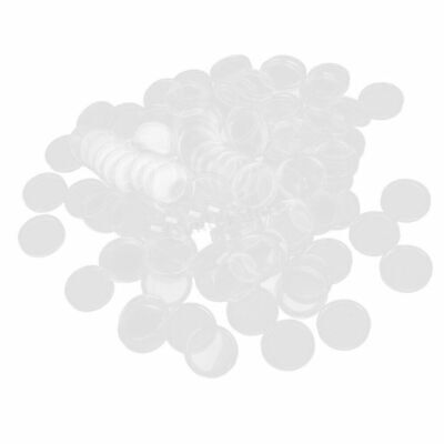 100Pcs Transparent  Plastic Round Capsules Coin Holders Case Storage Portector 5