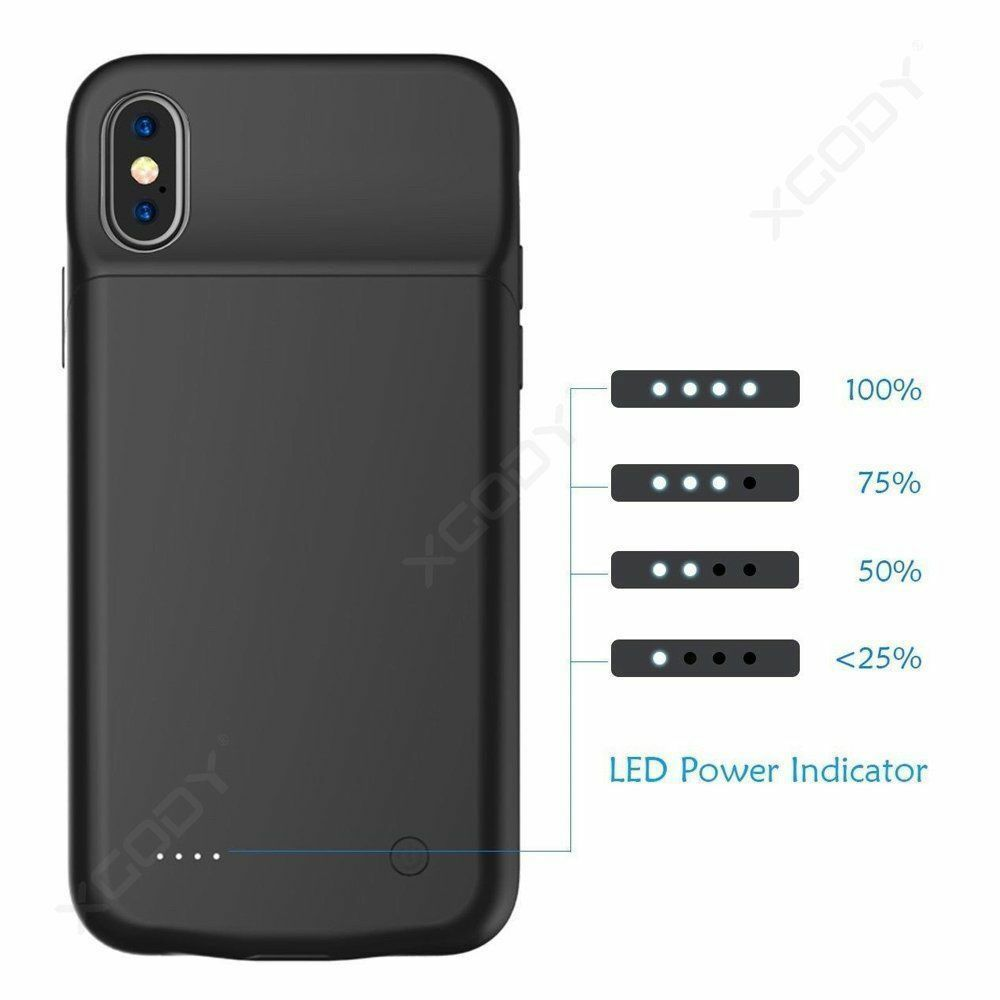 For Apple iPhone X Battery Case Rechargeable Charger Portable Charging Cover 8