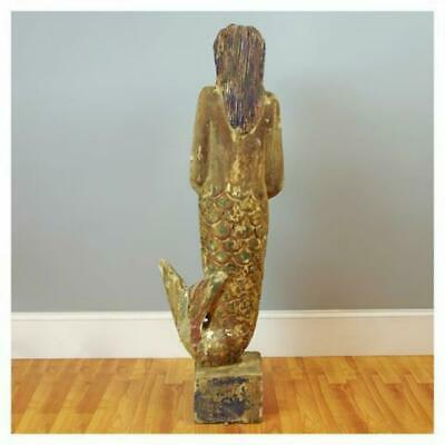Wooden Hand Carved Mermaid Statue Sculpture Vintage Style Painted 55 Feet Tall