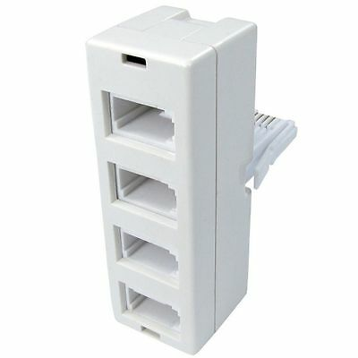 BT UK Telephone Phone Socket Point Quad 4 Way Adaptor Splitter Four 4 in 1 White