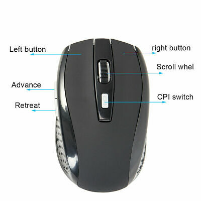 2.4GHz Wireless Optical Mouse Adjustable DPI Cordless Mice + Receiver for Laptop 6