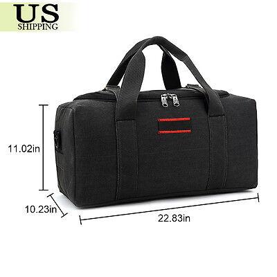 Men's Military Canvas Leather Gym Duffle Shoulder Bag Travel Luggage Handbag 5