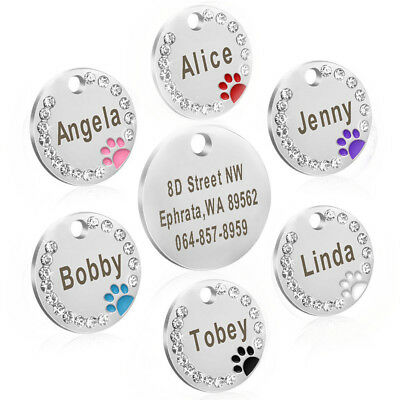 Personalized Dog Tags Paw Rhinestone Pet Cat ID Name Tag Engraved Free Hair Bows 9