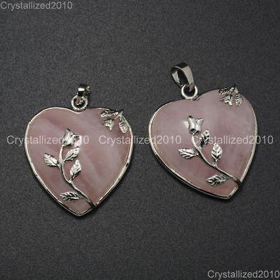 Natural Gemstone Heart Silver Plated Flower Reiki Chakra Pendant Charm Beads 6