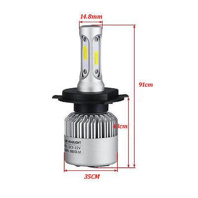 2 x H4 Cree led 72W 8000LM S2 Headlight Car Hi/Lo Beam Auto Bulbs 6000K White