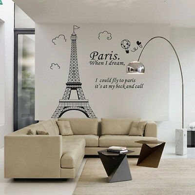 1 Of 2FREE Shipping Large Paris Eiffel Tower Wall Sticker Art Vinyl Decal  Mural Home Decor DIY