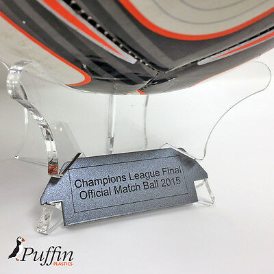 Football Display Stand - CLEAR - PERSPEX (With Free Inscription Plaque) 4