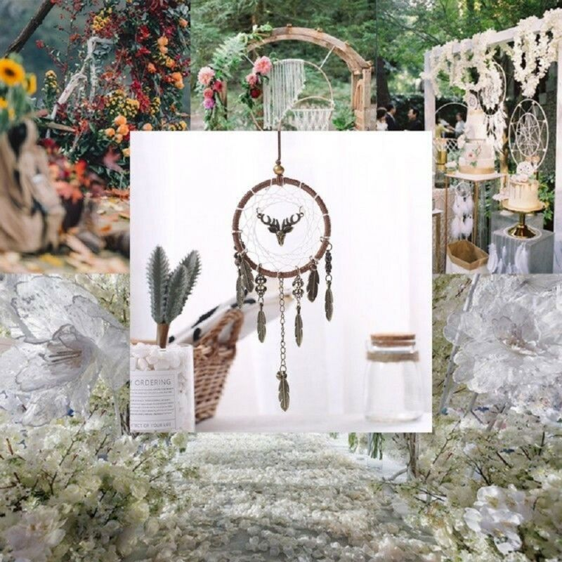 Brown Dream Catcher Wall Hanging Feather Decoration Ornament Handmade Craft DIY 3