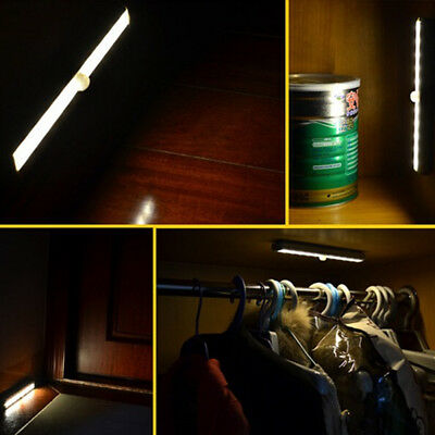 10 LED Motion Sensor Cabinet Bar Cupboard Strip Night Light Home Supply Lamp 9