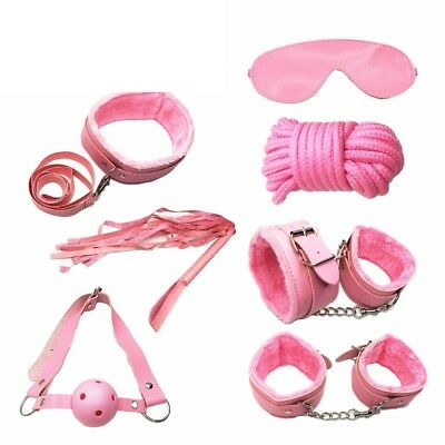 economy starter kit bdsm set bondage sadomaso collare polsiere cavigliere rosa 2