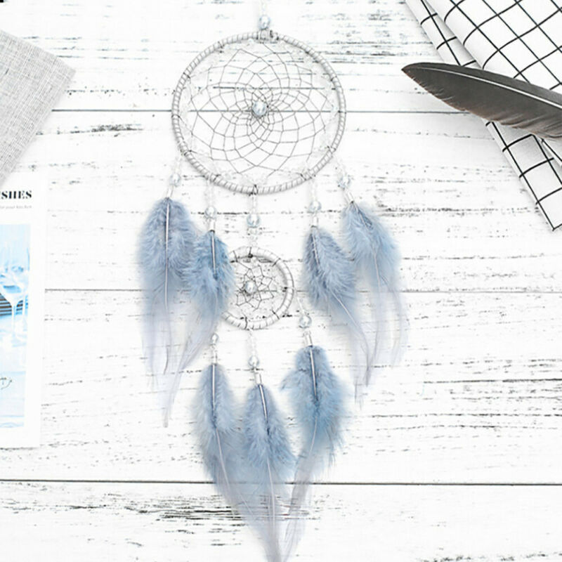 """18"""" Blue Large Handmade Feather Dream Catcher Car Wall Hanging Ornament Craft US 2"""