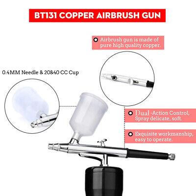 Airbrush Kit Air Compressor Dual Action Gun Cordless Art For Makeup Hobby Craft 12