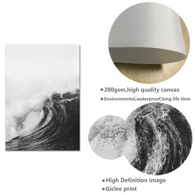 Ocean Sea Waves Nordic Poster Wall Art Canvas Prints Seascape Picture Decoration 4