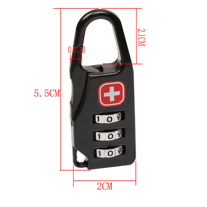 Alloy 3 Dial Safe Number Code Padlock Combination Travel Suitcase Luggage Lock
