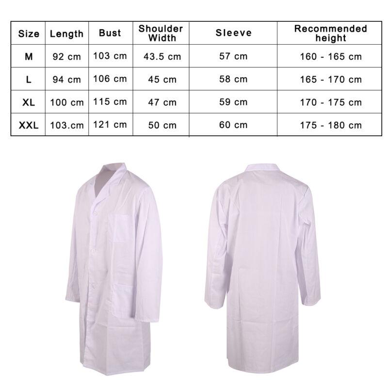Unisex White Lab Coat Medical Doctor Scientist Fancy Costume Nursing Jackets UK