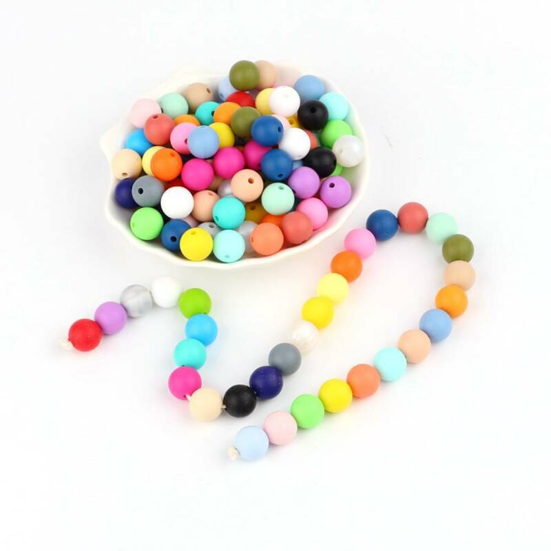 10Pcs 12mm Silicone Loose Beads Baby Teething Teether DIY Necklace Pacifier Clip 9