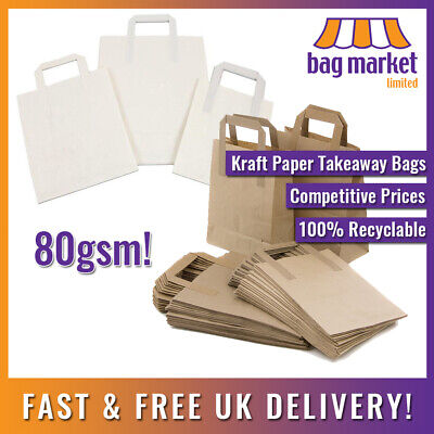 Kraft Paper Brown & White Carrier Bags! | Takeaway/SOS/Party/Lunch/Biodegradable 3