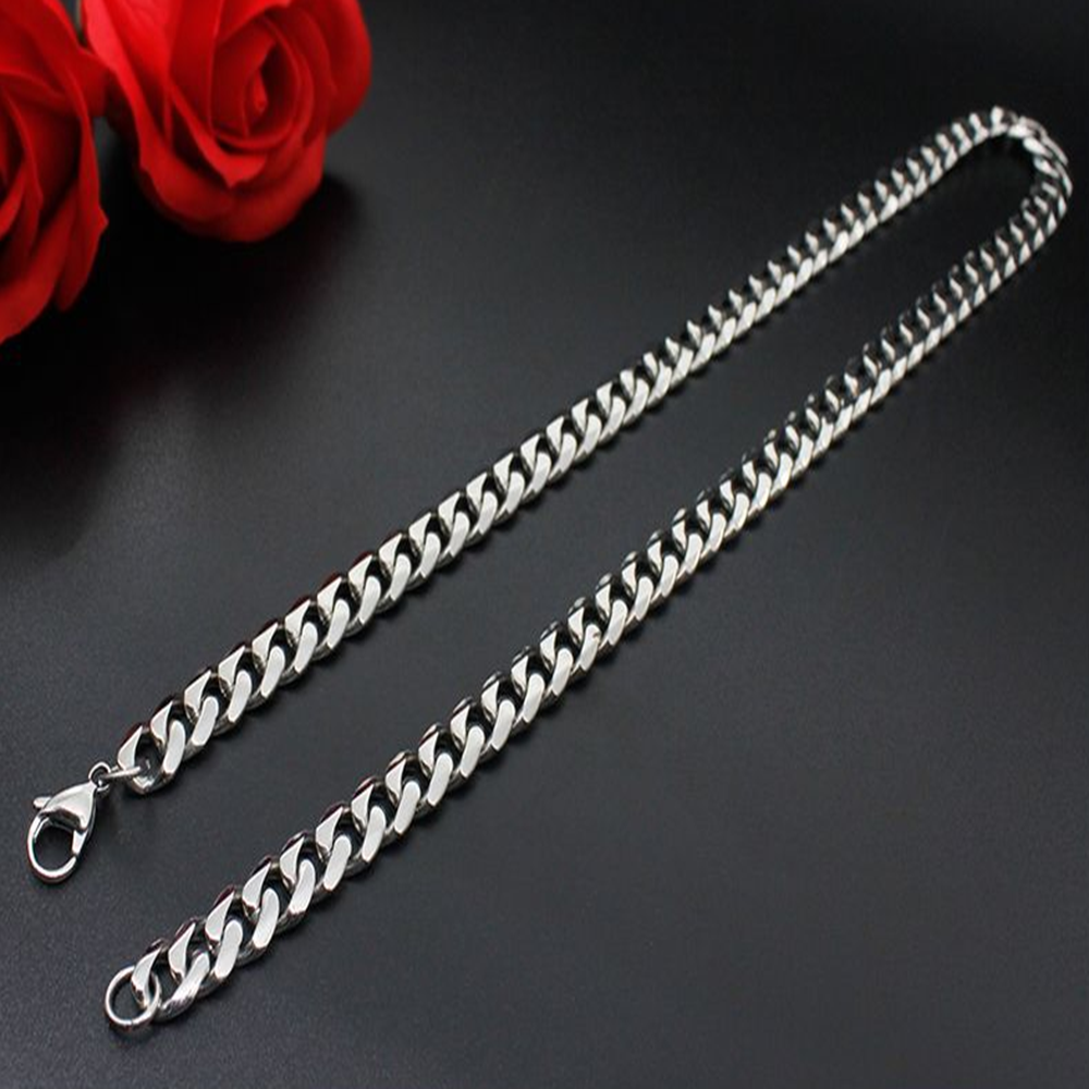 Man Women 316L Stainless Steel 2mm/3mm/4mm/5mm Silver Cuban Curb Chain Necklace 3