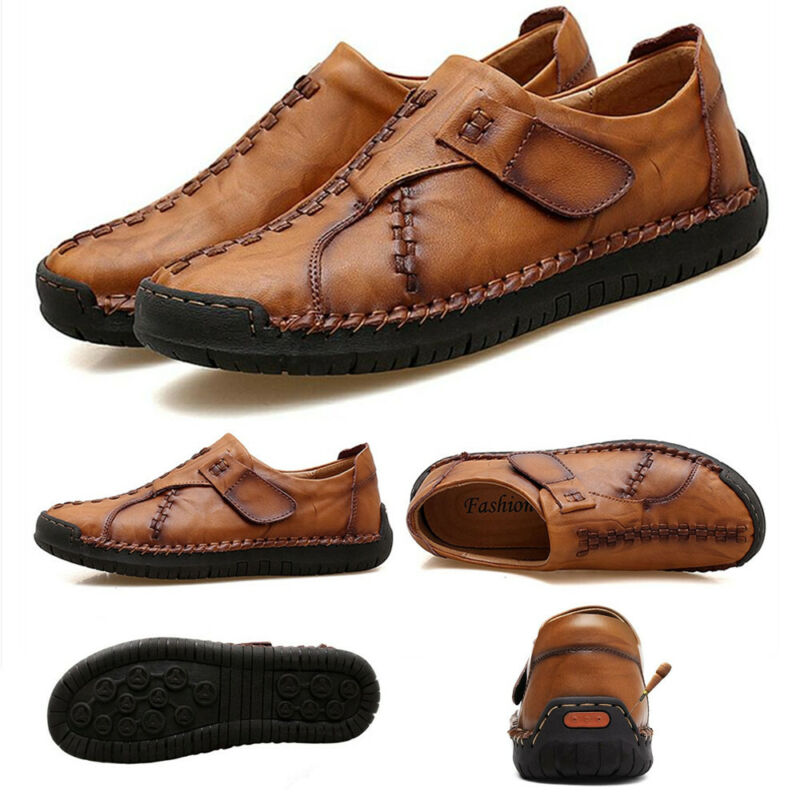 Mens Driving Casual Moccasins Leather Loafers Slip On Boat Deck Shoes Dark Brown