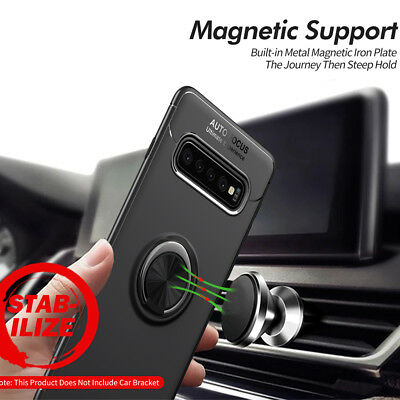 For Samsung Galaxy S10 S9 S8 S7 Hybrid Magnetic Ring Holder TPU+Metal Case Cover 8