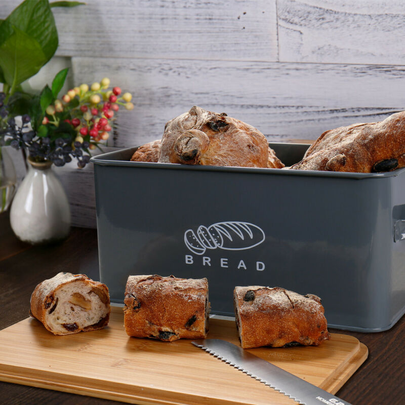 Bread Box Retro Metal Bin Kitchen Container Cake Keeper Food Storage Bamboo Lids 7