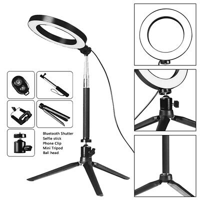 LED Video Ring Light Studio Camera Photography Selfie Makeup Lamp & Tripod Stand 10