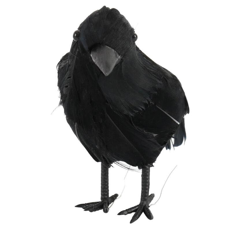 Black Lifesize Raven Movie Prop Fake Crow Halloween Fake Bird Hunting Decor EN 3