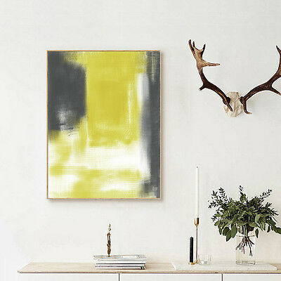 Yellow And Gray Abstract Painting Nordic Art Canvas Poster