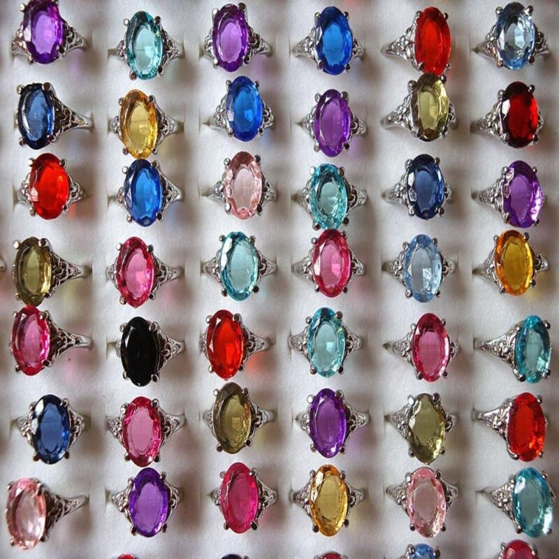100/20Pcs Vintage Tibet Flower Silver Rings Wholesale Mixed Lots Costume Jewelry 5