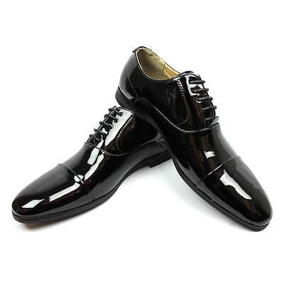 New Mens Black Tuxedo Cap Toe Lace Up Oxford Dress Shoes Shiny