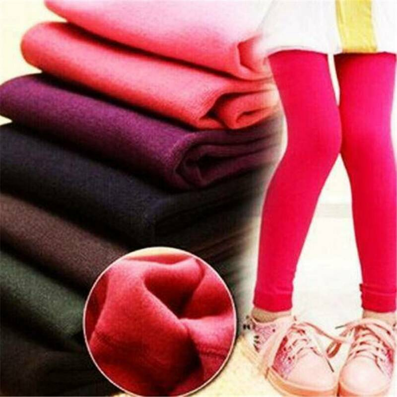 Warm Girl Child Kids Warm Thick Fleece Leggings Stretchy Skinny Trousers Pants 3