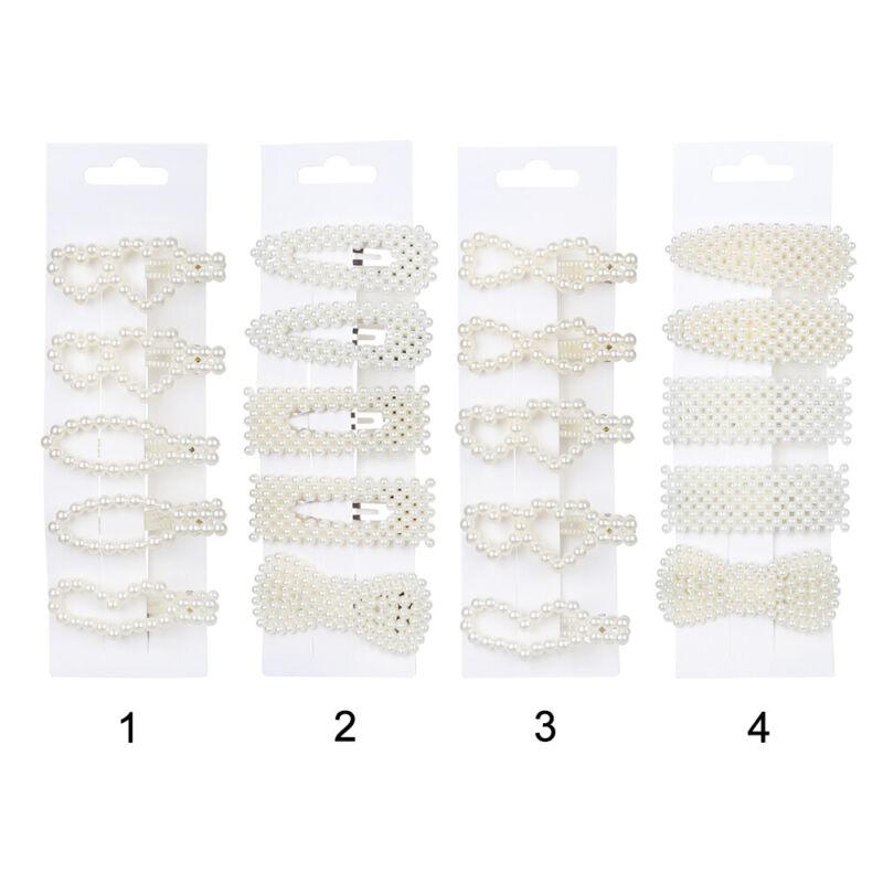 5Pcs/Set Pearl Hair Clip Barrettes 2019 Fashion For Women Hairpins Accessories 4