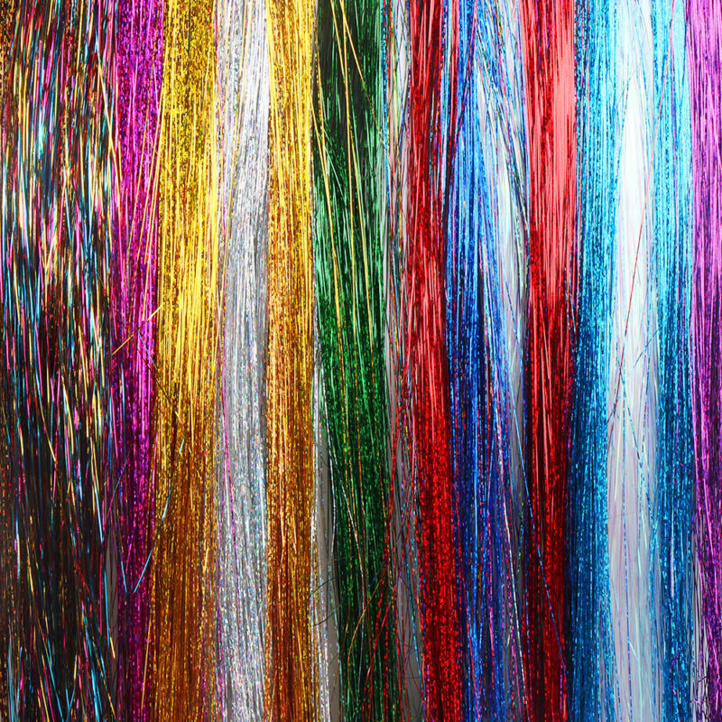 100 Strands Hair Tinsel Bling Silk Hair Flare Strands Glitter Rainbow Hair Decor 6