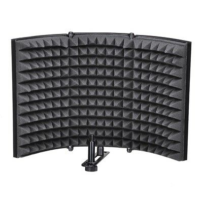 3 Fold Design Microphone Isolation Shield Studio Recording Absorber Foam Panel 2