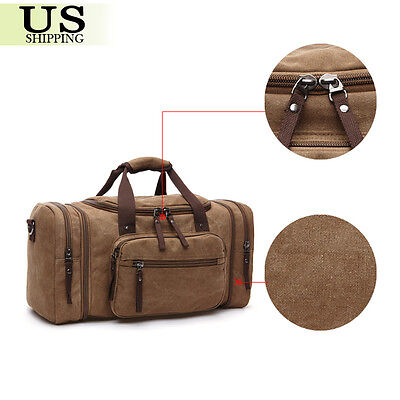 Canvas Travel Tote Luggage Large Men's Weekend Gym Shoulder Duffle Bag & Strap 11