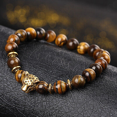 Hot Sale Men's Yellow Tiger Eye Gold Leopard Head Beaded Yogo Stretch Bracelet