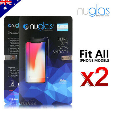 2x NUGLAS Tempered Glass Screen Protector Apple iPhone 11 XS Max XR 8 7 6s Plus 11