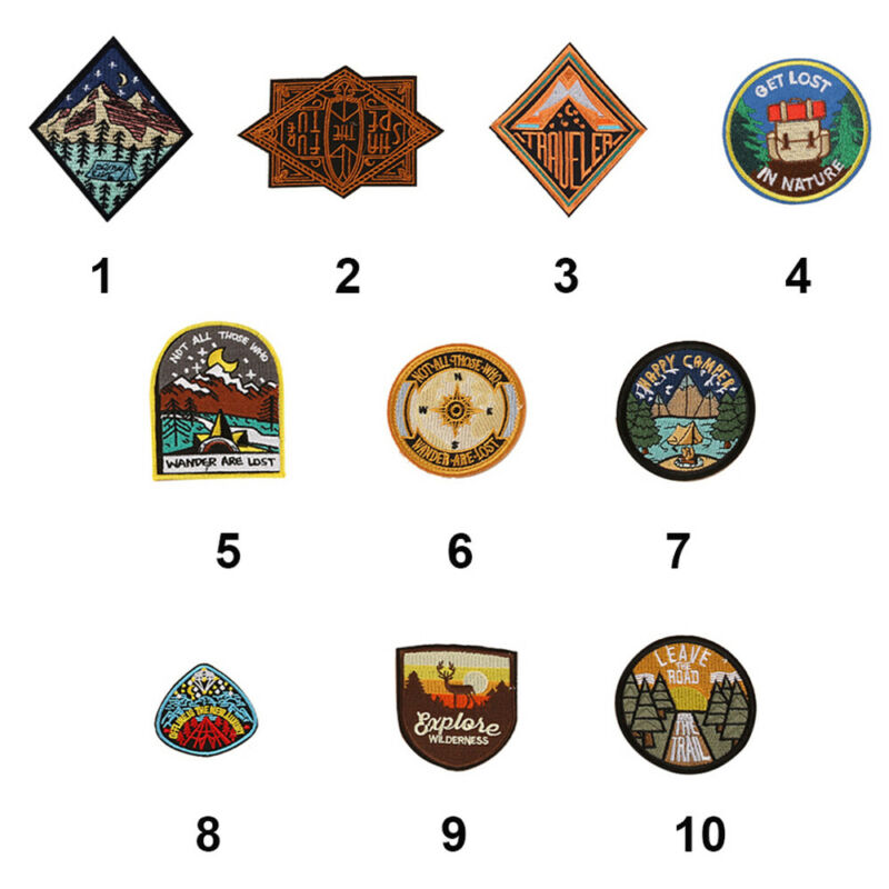 Outdoor Camping Embroidered Patch Nature Loving Badges Iron On Appliques 2