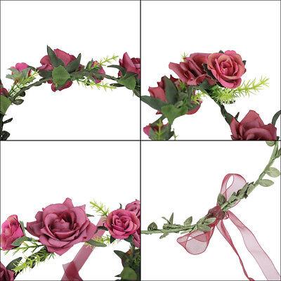 Adjustable Women's Beautiful Flower Crown Headband Hair Wreath Garland Ribbon 8