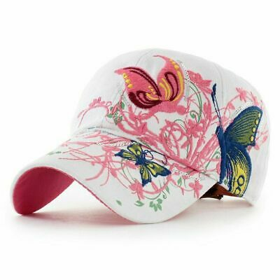 AKIZON Baseball Cap For Women With Butterflies And Flowers Embroidery Adjustable 2